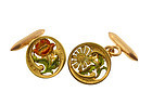 French Art Nouveau 18K Secret Message Flower Cufflinks