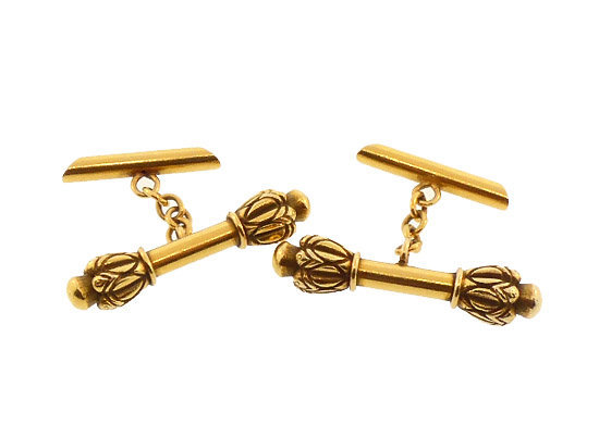 14K Yellow Gold Mace Batton Cufflinks