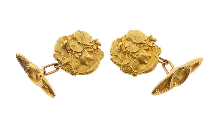 L Rault 18K Gold French Art Nouveau Medallist Cufflinks
