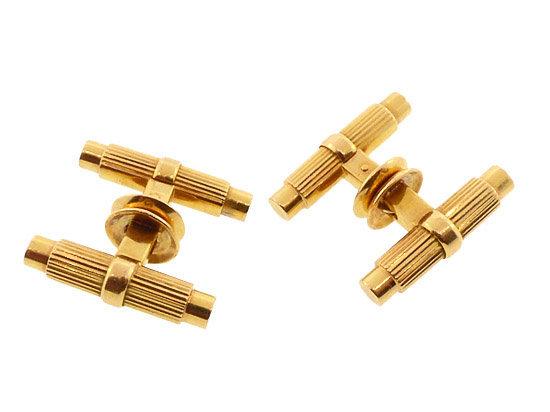 French 18K Gold Baton Mechanical Snap Cufflinks