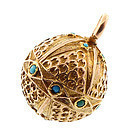 Victorian Etruscan Revival 18K Gold & Turquoise Ball Locket
