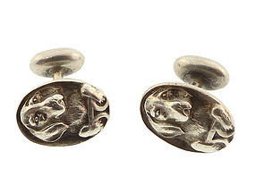 Victorian Sterling Silver Beagle Hound Dog Cufflinks (item ...