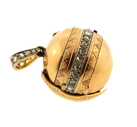 French Napoleon III 18K Gold & Diamond Folding Ball Locket