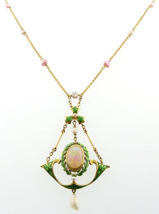 Art Nouveau 14K Gold, Opal, Enamel & Natural Pearl Necklace