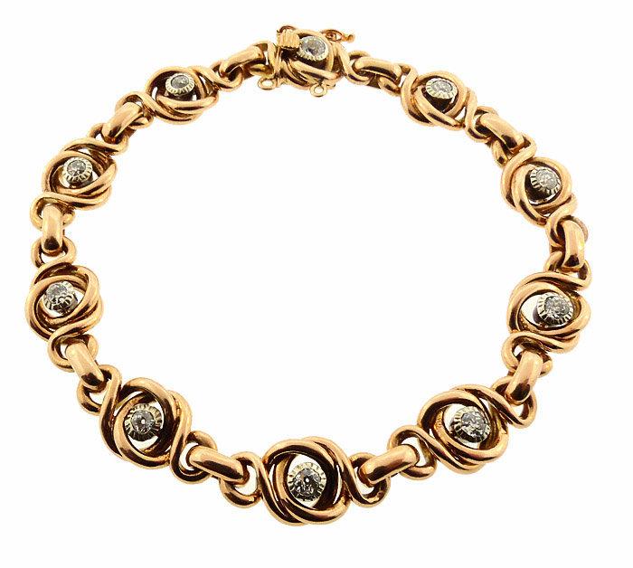 Heavy Victorian 18K Gold & Diamond Knot Motif Bracelet