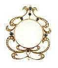 Art Nouveau 15K Gold, Sapphire, Pearl & Crystal Locket