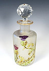 Saint Louis Art Nouveau Etched Cameo Glass & Enamel Perfume Bottle