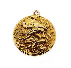 Art Nouveau 14k Gold Viking Norse Mythology Locket Item