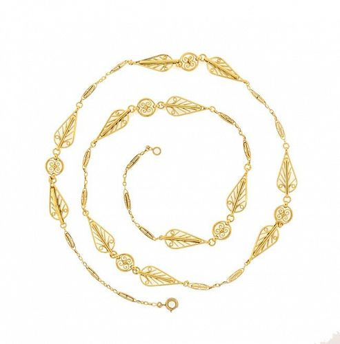 Victorian French 18K Gold Fancy Link Long Chain Necklace