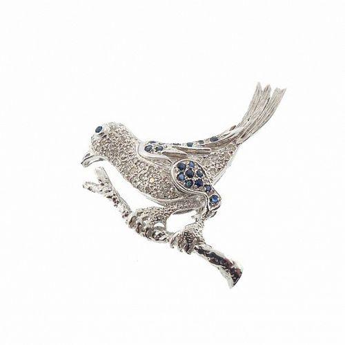 a760ab0c6 Vintage Samuel B 14K White Gold, Diamond & Sapphire Bird Pin (item ...