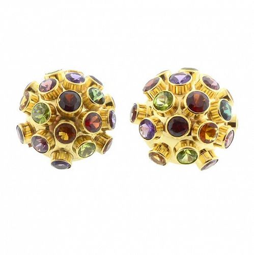 H Stern 18k Gold Multicolored Gemstone Sputnik Earrings