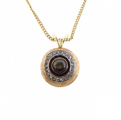 Mid century modern 14k gold diamond black star sapphire pendant mid century modern 14k gold diamond black star sapphire pendant aloadofball Choice Image