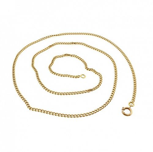 Vintage Heavy French 18K Gold Curb Link Pendant Chain 22-3/4