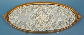 Gilt Bronze & Lace Dresser Tray