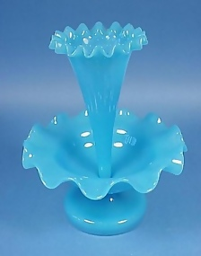 French Blue Opaline Epergne