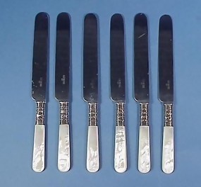 6 Sterling & Mother of Pearl Luncheon Knives