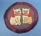American Hooked Rug/Chair Mat w/ Cats