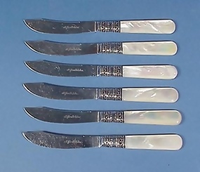 6 Sterling & Mother of Pearl Fruit Knives