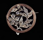 Victorian French 18K Gold & Diamond Brooch