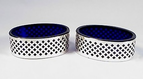 Pair Sterling Silver & Cobalt Glass Salt Dips