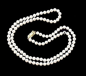 "Mikimoto 29"" Strand 6mm AA Pearl Necklace 14K Clasp"