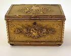 Victorian Louis XVI Style Brass Plated Jewelry Box