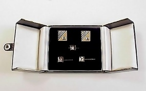 14K Yellow Gold & 1Ct Diamond Cufflinks & Stud Set