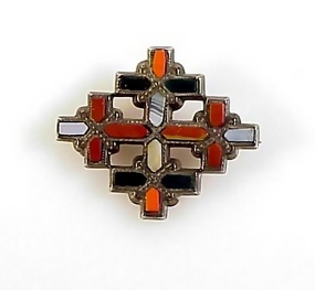 Victorian Scottish Agate Silver Jerusalem Cross Brooch