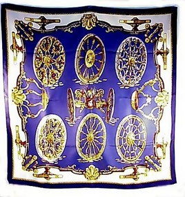 Vintage Herm�s Silk Scarf Carre Signed Caty