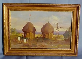 American West Indian Reservation Oil Painting (item #55406)