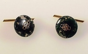Art Deco 18K Gold & Moss Agate Cufflinks