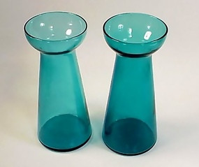 Pair Victorian Teal Blue Glass Hyacinth Vases