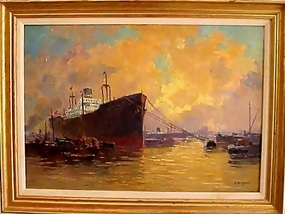 Gerard Wiegman Oil On Canvas Dutch Harbor Scene