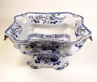 Victorian English Morley Ironstone Blue & White Compote