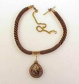 8320bc71695ff Victorian 14K Gold & Woven Hair Watch Fob Necklace (item #679826)