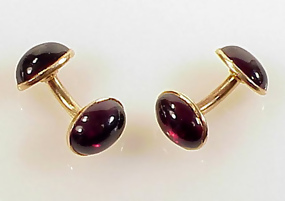 Victorian 14K Gold & Garnet Doubled-Sided Cufflinks