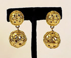 Vintage Signed Givenchy Costume Goldtone Earrings