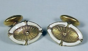 Edwardian 14K Gold & Enamel Cufflinks