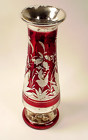 Bohemian Red Flashed Engraved Mercury Glass Vase