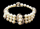 Vintage 14K White Gold Diamond 3-Strand Pearl Bracelet