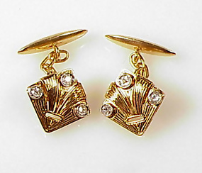 Art Deco 18K Gold, Platinum & Diamond Cufflinks