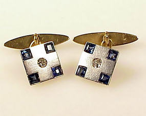 Art Deco Platinum 18K Gold Diamond Sapphire Cufflinks