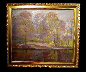 American Impressionist Woodland Pond Oil On Canvas