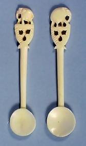 Pair Carved Bone Elephant Handle Salt Spoons Item 92556
