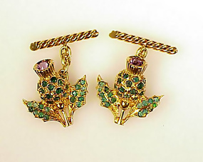 18K Yellow Gold, Emerald & Amethyst Thistle Cufflinks