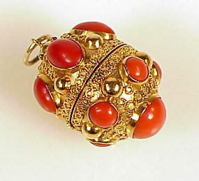 Venetian Etruscan 18k Gold Coral Fob Charm Locket Item