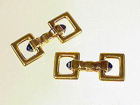 Art Deco Cartier 18K Sapphire Flip-Up Stirrup Cufflinks