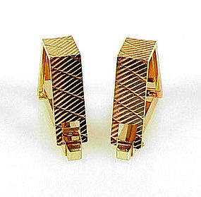 Art Deco French 18K Yellow Gold Stirrup Cufflinks