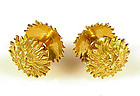 Art Deco French 18K Gold Lion's Head Sunburst Cufflinks
