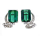 Vintage Platinum Green Tourmaline & Diamond Earrings